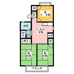 ジュネスマルフク A棟 B棟[2階]の間取り