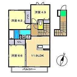 シャーメゾン・まゆII E棟[2階]の間取り