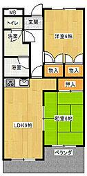 ヴァンヴェール赤坂[502号室]の間取り
