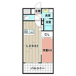 LE GRAND BLEU HAKATA 10階1LDKの間取り