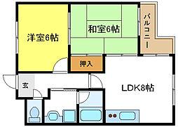 パルコートKUSAKA[3階]の間取り