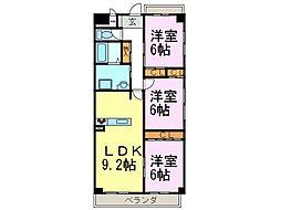 愛知県半田市雁宿町3丁目の賃貸マンションの間取り