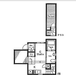 東急東横線 多摩川駅 徒歩1分の賃貸アパート 2階ワンルームの間取り