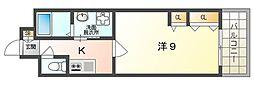 エルベコート太子橋駅前 9階1Kの間取り