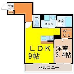 (仮称)幸心2丁目新築アパート A棟[1階]の間取り
