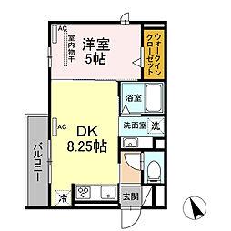 コスモ錦 3階1DKの間取り