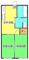 埼玉県狭山市入間川2丁目の賃貸アパートの間取り