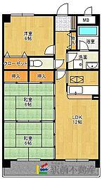 西鉄貝塚線 三苫駅 徒歩5分の賃貸マンション 1階3LDKの間取り