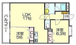 シャンブルクレール2[3階]の間取り