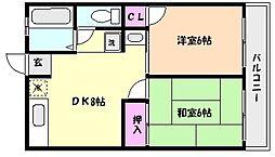 兵庫県神戸市東灘区本山中町2丁目の賃貸アパートの間取り