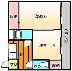 大阪府堺市堺区櫛屋町東2丁の賃貸アパートの間取り