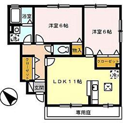 広島県広島市佐伯区三宅3丁目の賃貸アパートの間取り