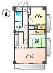 愛知県名古屋市緑区鳴海町字三王山の賃貸マンションの間取り