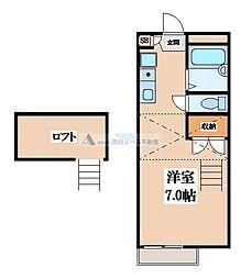 大阪府東大阪市立花町の賃貸アパートの間取り