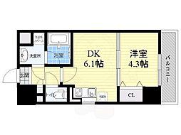 サムティガーデン江坂1 8階1DKの間取り