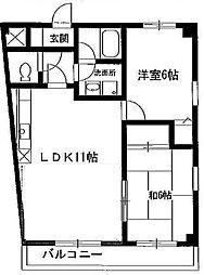 白水マンション1号館[2階]の間取り