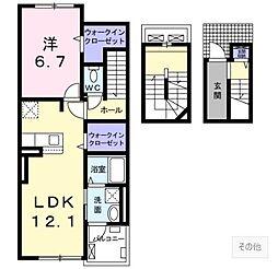 広島電鉄宮島線 楽々園駅 徒歩10分の賃貸アパート 3階1LDKの間取り