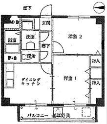 兵庫県西宮市千歳町の賃貸マンションの間取り