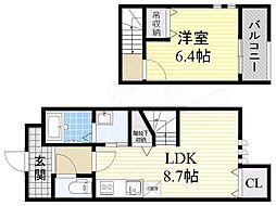 Osaka Metro四つ橋線 住之江公園駅 徒歩16分の賃貸アパート 1階1LDKの間取り