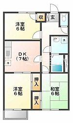 平岡ハイツA棟[102号室]の間取り
