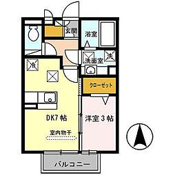 ラ・フルール西高松[101号室]の間取り