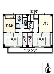 ビレッジハウス津 1号棟[3階]の間取り