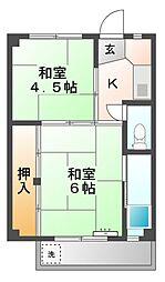 ビレッジハウス滝呂3号棟[2階]の間取り