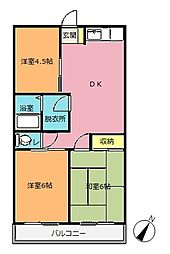 埼玉県北本市宮内2の賃貸アパートの間取り