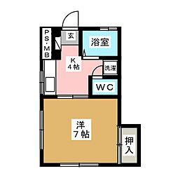 コーポ楓[1階]の間取り