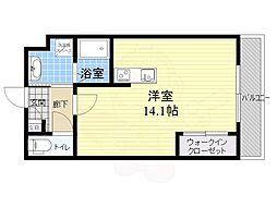 阪急千里線 山田駅 徒歩10分の賃貸マンション 4階ワンルームの間取り