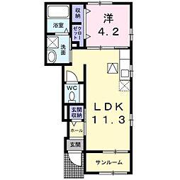 熊本市電A系統 神水交差点駅 徒歩11分の賃貸アパート 1階1LDKの間取り