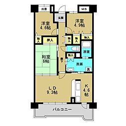 コーシャハイツ高見36[2階]の間取り