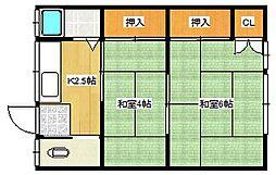 城川アパート[202号室]の間取り