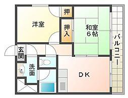 大阪府大阪市平野区長吉出戸5丁目の賃貸マンションの間取り