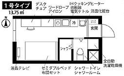 都営浅草線 押上駅 徒歩5分の賃貸マンション 3階ワンルームの間取り