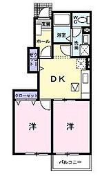 広島県尾道市福地町の賃貸アパートの間取り
