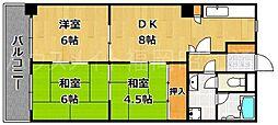 ライオンズマンション薬院中央[4階]の間取り