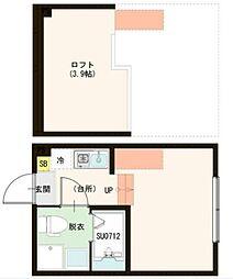 東武伊勢崎線 梅島駅 徒歩10分の賃貸アパート 1階ワンルームの間取り