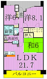 千葉県白井市笹塚2丁目の賃貸マンションの間取り