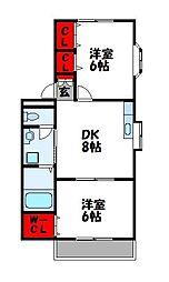 フラワーハイツC[2階]の間取り