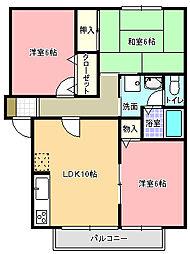 セジュールエザキ[2階]の間取り