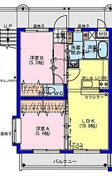 (仮称)川南町マンション 3階2LDKの間取り