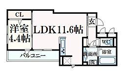 テラコート北野坂 1階1LDKの間取り