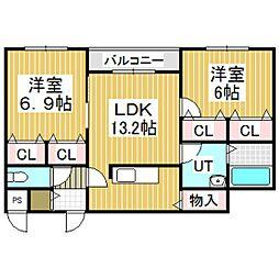 エルプレシア北栄町[105号室]の間取り