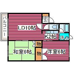 北海道札幌市東区東苗穂十四条2丁目の賃貸アパート 2階2LDKの間取り