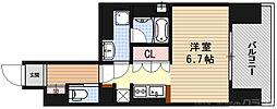 リーガル京都五条大宮 5階ワンルームの間取り