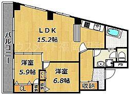 福岡県福岡市中央区大濠1丁目の賃貸マンションの間取り
