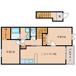 近鉄天理線 二階堂駅 徒歩11分の賃貸アパート 2階2LDKの間取り