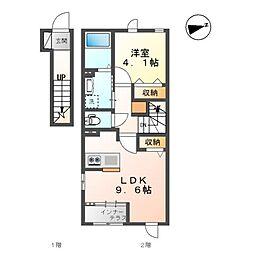 仮)小原田新築アパート 2階1LDKの間取り