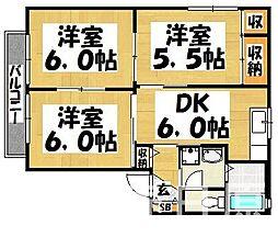 福岡県太宰府市坂本3丁目の賃貸アパートの間取り